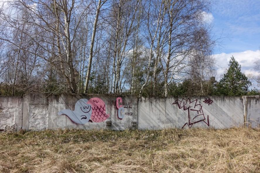 streetart - dave the chimp / chula - geisterstadt vogelsang - verlassene russische kaserne