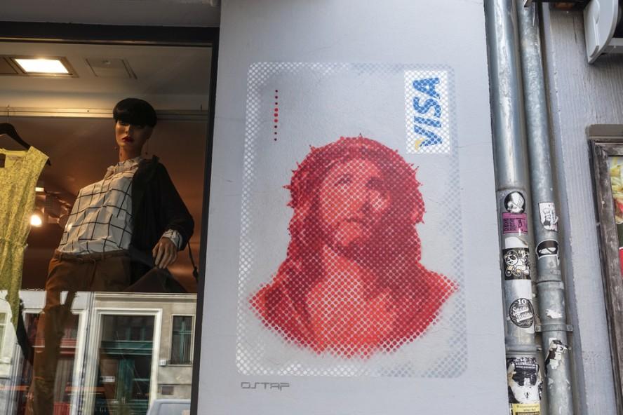 jesus visa card - stencil - slava ostapchenko