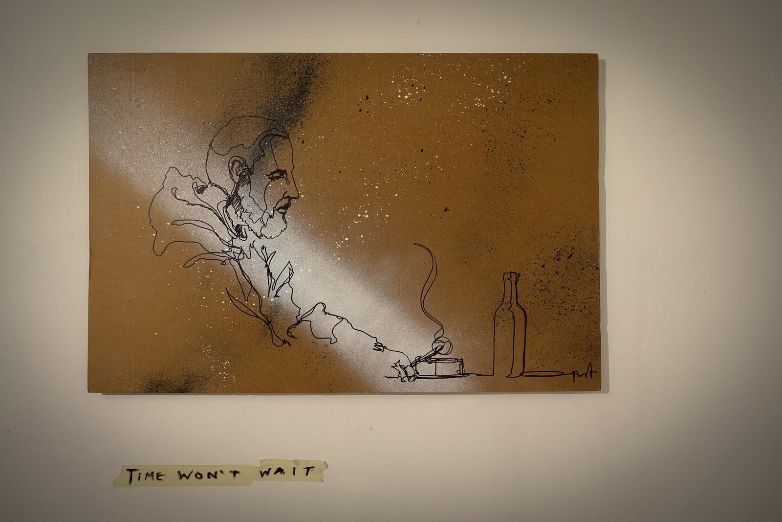 """mein lieber prost """"one fine line""""-ausstelling in plateau gallery"""