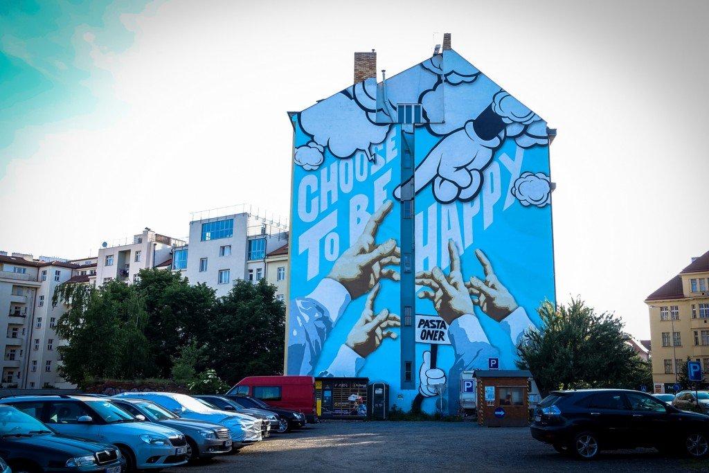 mural - pasta oner - prague, dejvicka metro