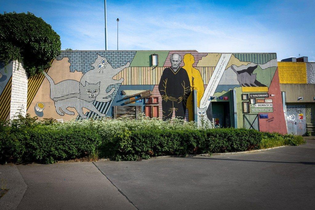 "mural ""hrabal wall"" - prague, palmovka"