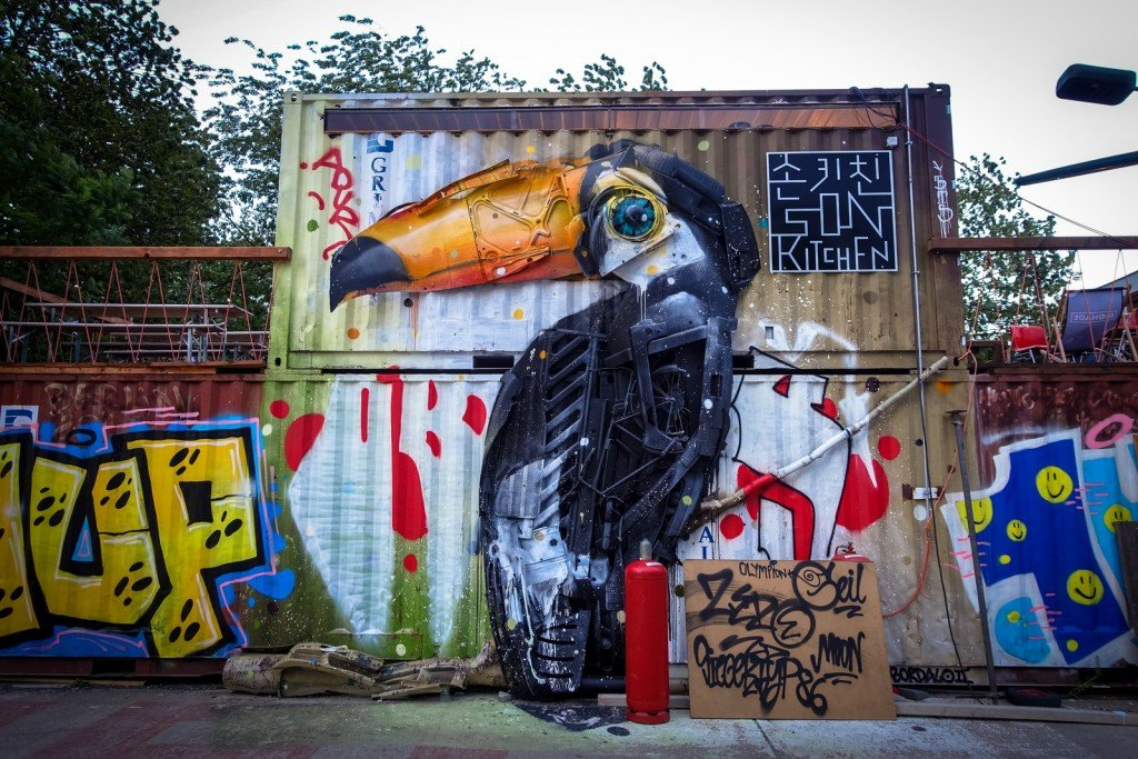 3d mural - bordalo segundo - berlin, urban spree