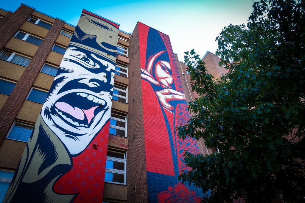 "mural - d*face & shepard fairey - berlin, bülowstrasse - ""urban nation"""