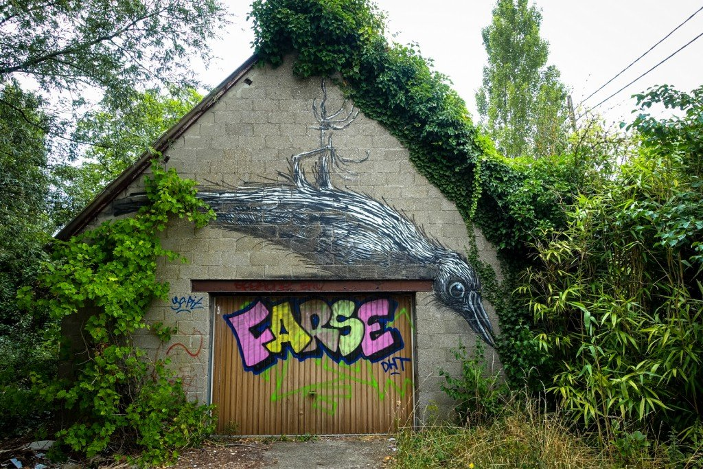 urban art - roa - ghostvillage doel, belgium