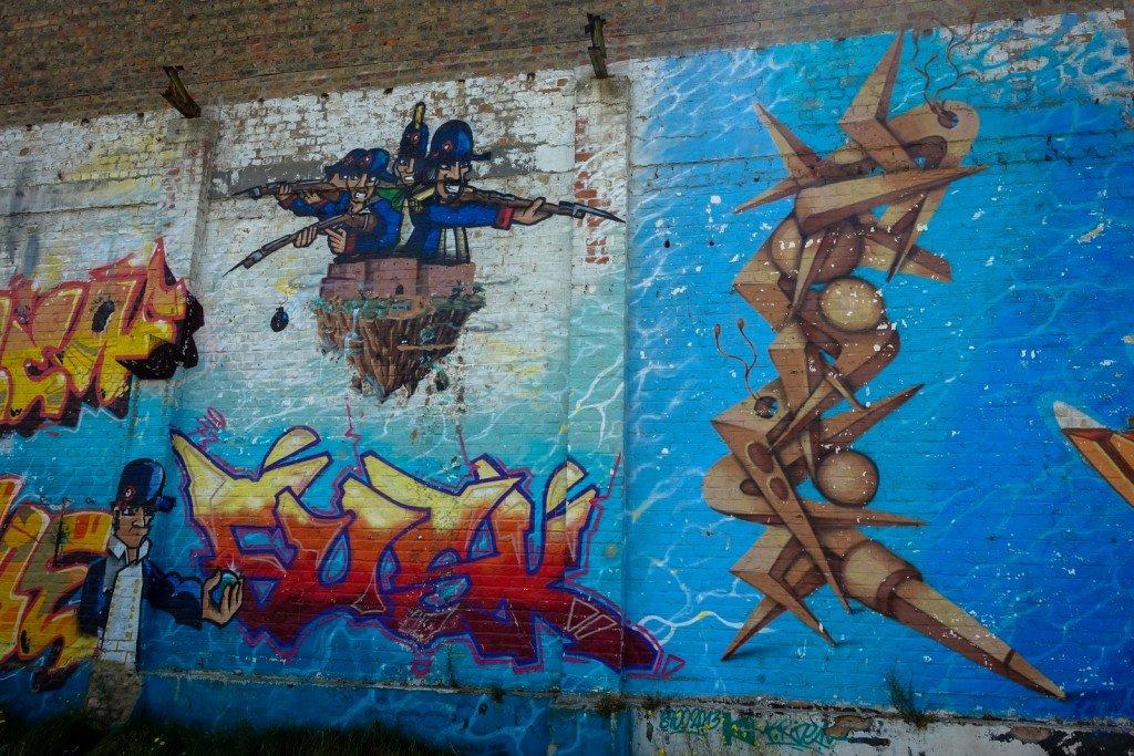 "graffiti - crem, fusk and kride - belgium, ostend, ""just writing"