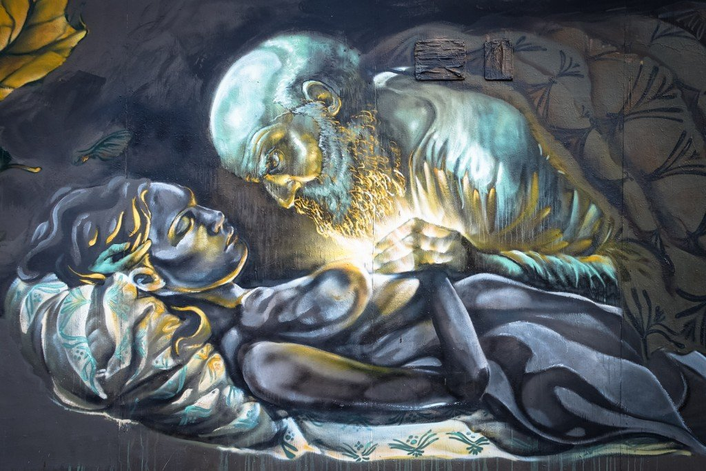 "mural - pao delfin, sokar uno & fonso ""mann der wunder"" - berlin"