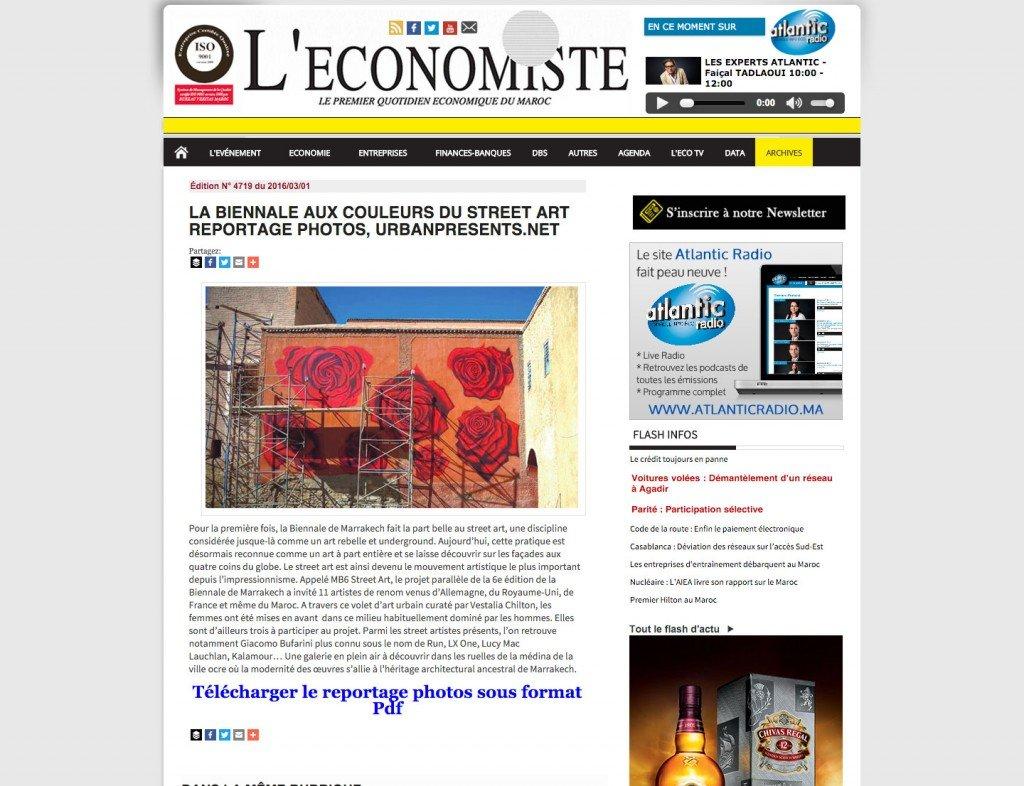 screenshot - l-economiste - streetart reportage - photos: urbanpresents.net