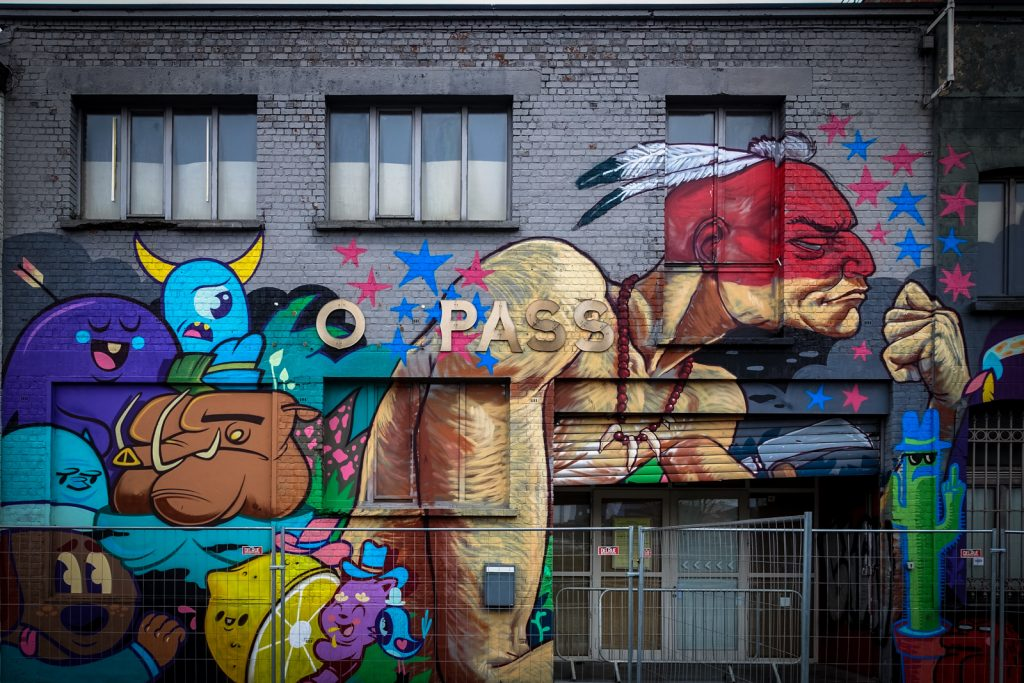 mural - a squid called sebastian, bue the warrior - compass, gent