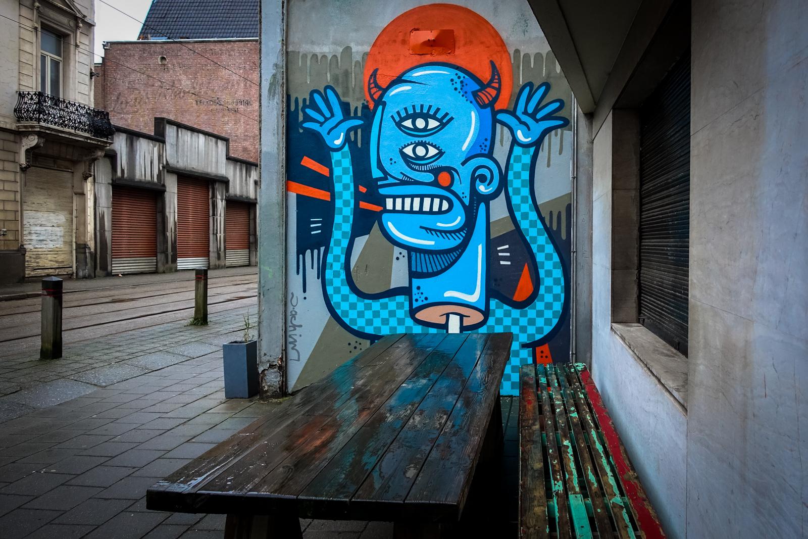 streetart in zentrum vom antwerpen