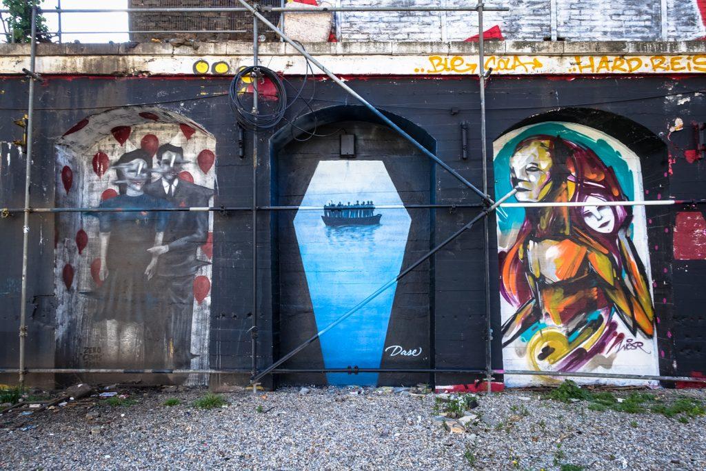 streetart - dase, wesr,  zero cents - berlin, urban spree