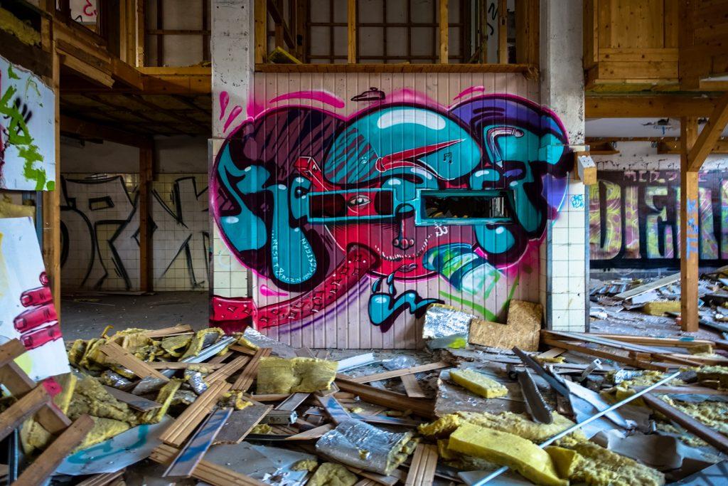 urbex graffiti - reset & robin von gestern - schlachthof, bonn