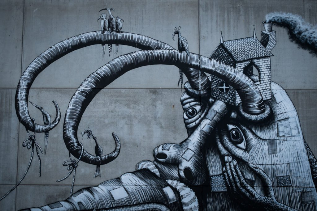 mural - phlegm - the crystal ship, oostende, belgium