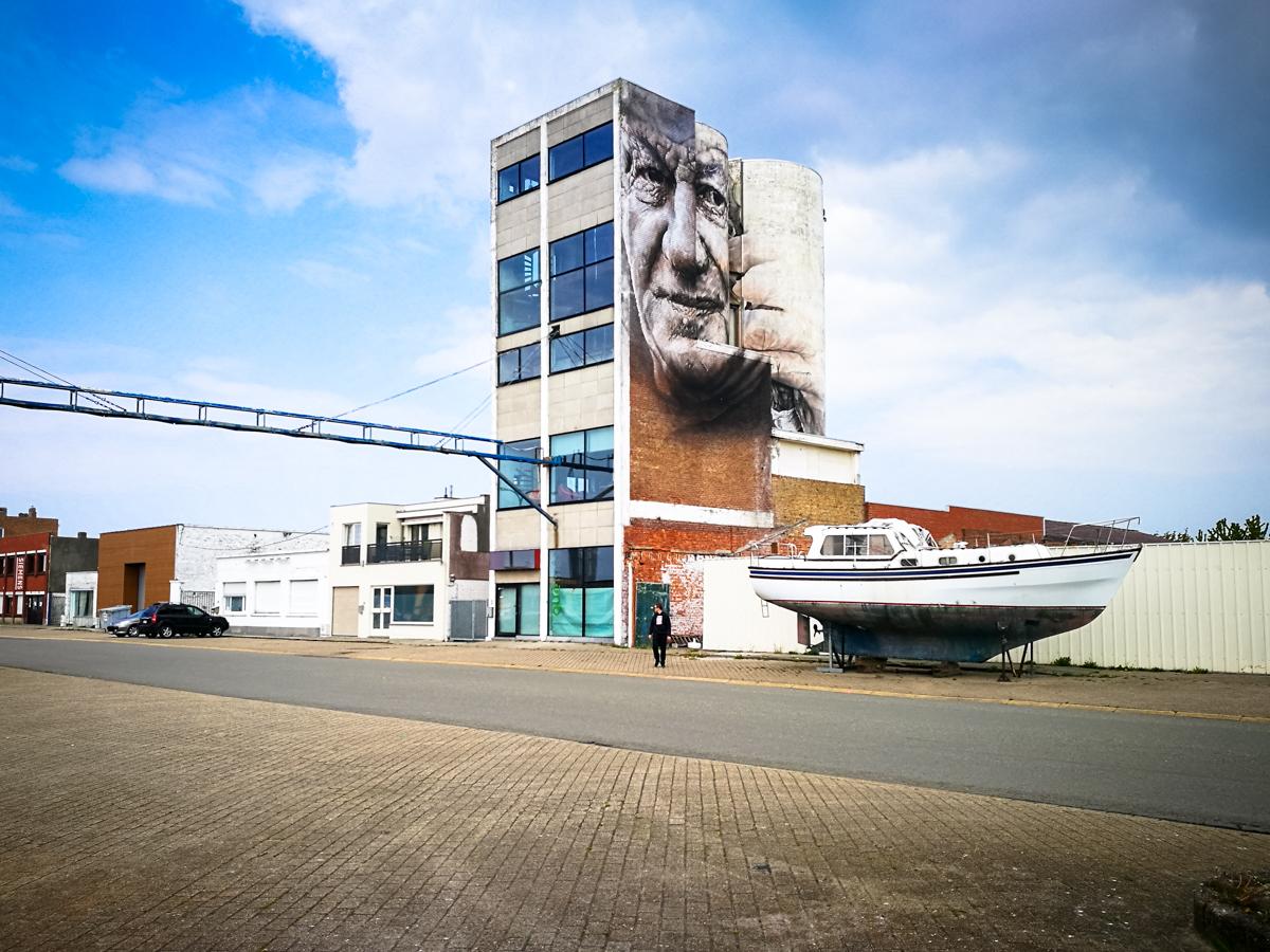 mural - guido van helten - the crystal ship, oostende, belgium
