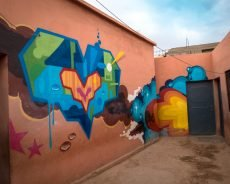 tats cru, ceet & daze graffiti at oulad bouzid schule, marrakesh