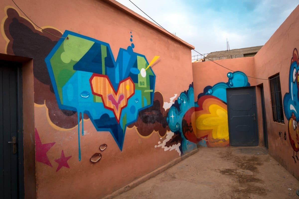 graffiti - tats cru, daze - school oulad bouzid, marrakesh