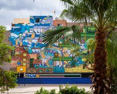 poes und jo ber mural in tariq-ben-ziad-schule, marrakesch