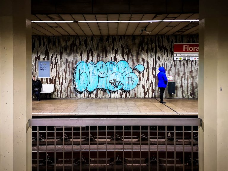 Graffiti at underground station Florastrasse, Cologne-Nippes
