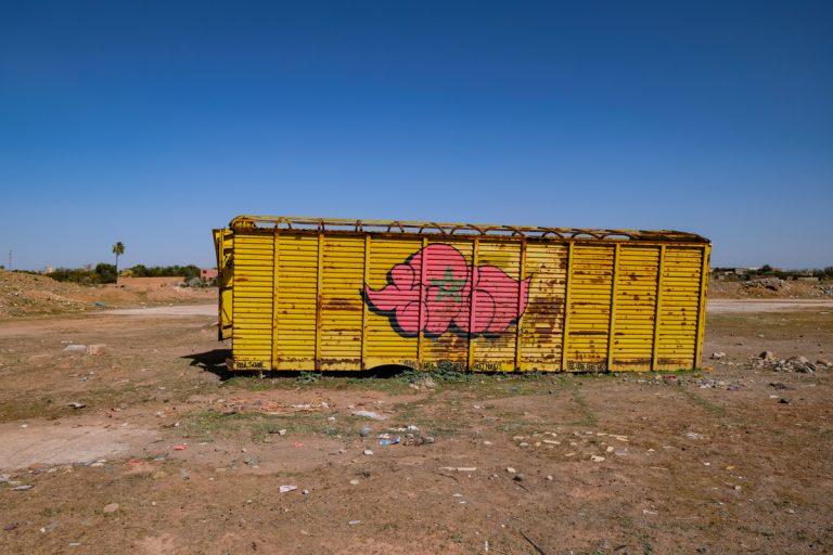 Graffitis close to the Jardin Rouge, Feb 2019