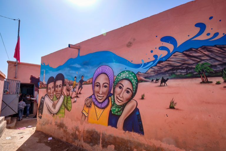 Graffiti at the Oulad Bouzid school, Marrakech