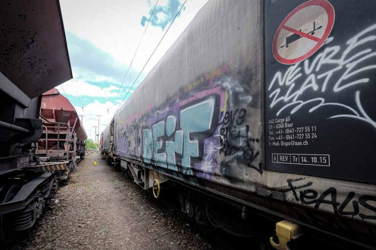 Graffiti on freight trains, Wanne-Eickel (NRW)